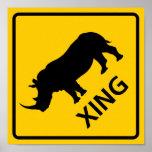 Rhinoceros Crossing Highway Sign Poster