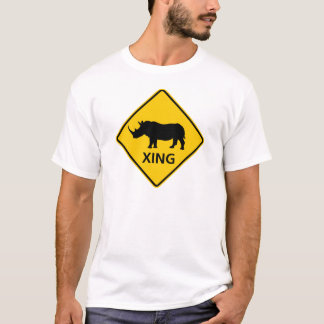 Rhinoceros Crossing Highway Sign T-Shirt