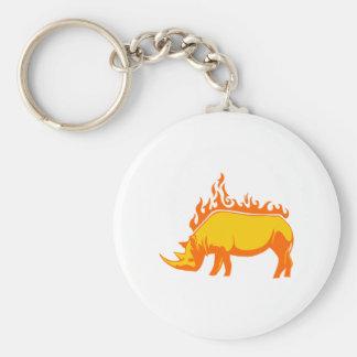 Rhinoceros in Flames Basic Round Button Key Ring