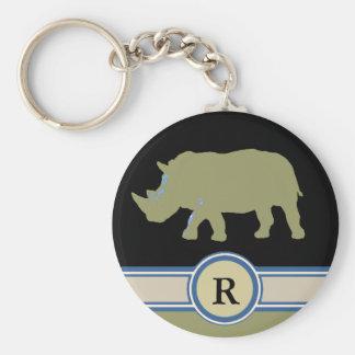 rhinoceros R letter Key Ring