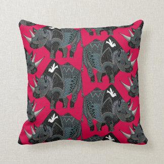 rhinoceros red cushion