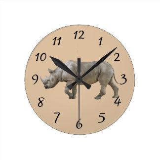 Rhinoceros Round Clock