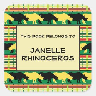 Rhinoceros Safari Weave Pattern Square Sticker