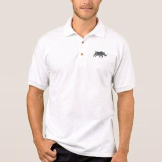 Rhinoceros Silhouette Running Watercolor Polo Shirt