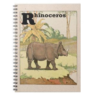 Rhinoceros Story Book Illustrated Spiral Notebook