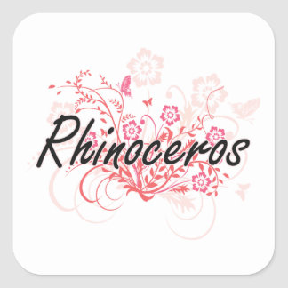 Rhinoceros with flowers background square sticker
