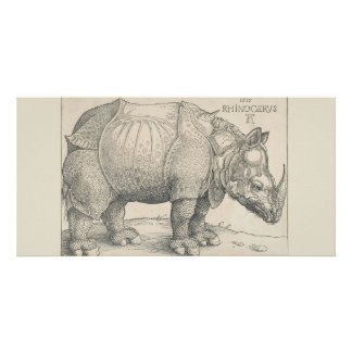 Rhinoceros, Woodcut by Albrecht Durer Personalized Photo Card