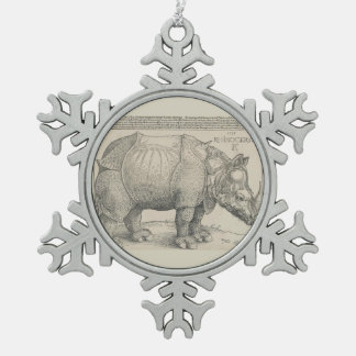 Rhinoceros, Woodcut by Albrecht Durer Snowflake Pewter Christmas Ornament
