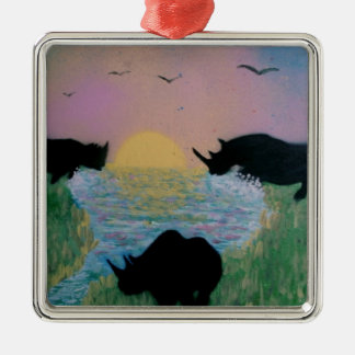 Rhinos by the river christmas ornament