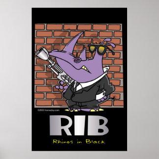 Rhinos in Black Poster