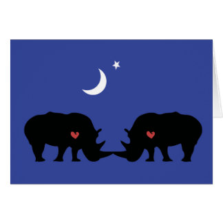 Rhinos in love card