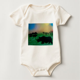 Rhinos in the sunset baby bodysuit