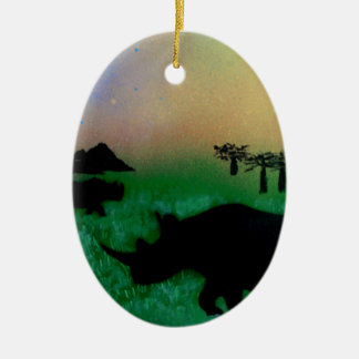 Rhinos in the sunset christmas ornament