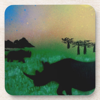 Rhinos in the sunset coaster