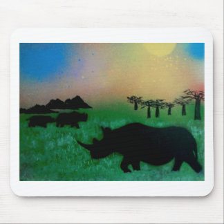 Rhinos in the sunset mouse mat