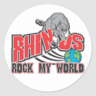 Rhinos Rock My World Classic Round Sticker