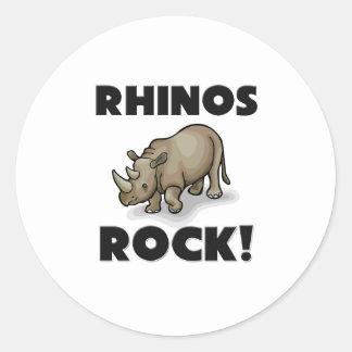 Rhinos Rock Round Sticker