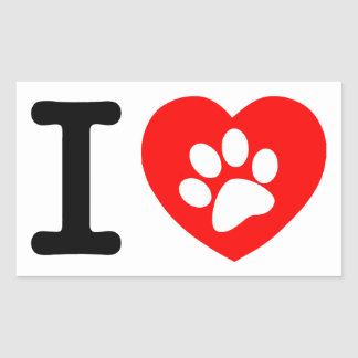 RHLAC RED HEART LOVE ANIMALS CAUSES MOTIVATIONAL RECTANGLE STICKER