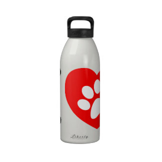 RHLAC  RED HEART LOVE ANIMALS CAUSES MOTIVATIONAL DRINKING BOTTLE