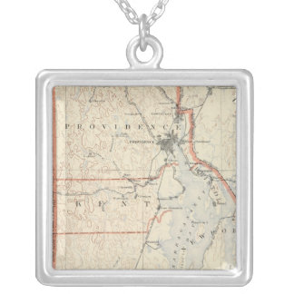 Rhode Island atlas 2 Silver Plated Necklace
