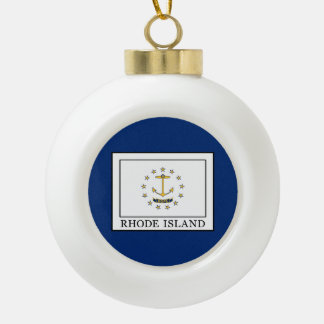 Rhode Island Ceramic Ball Christmas Ornament