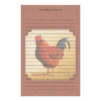 Rhode Island Chicken Red Background Stationery Paper
