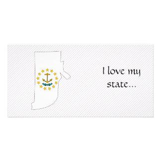 Rhode Island Flag Map Photo Cards
