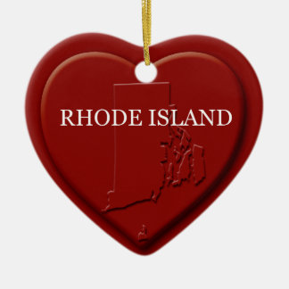 Rhode Island  Heart Map Christmas Ornament