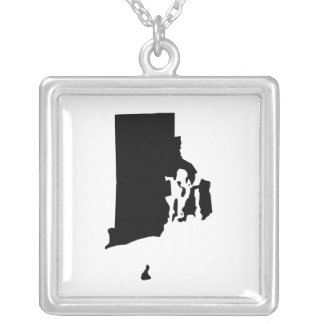 Rhode Island in Black and White Silver Plated Necklace