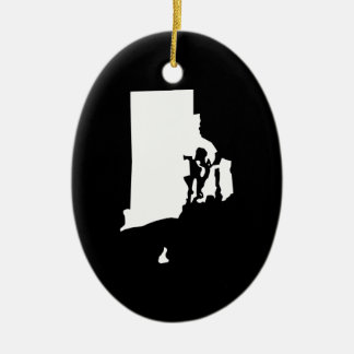 Rhode Island in White and Black Christmas Ornament
