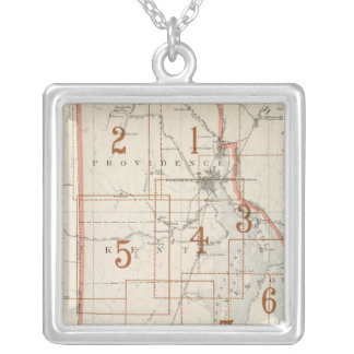 Rhode Island index map Silver Plated Necklace