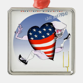 rhode island loud and proud, tony fernandes Silver-Colored square decoration