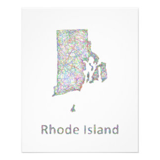 Rhode Island map 11.5 Cm X 14 Cm Flyer