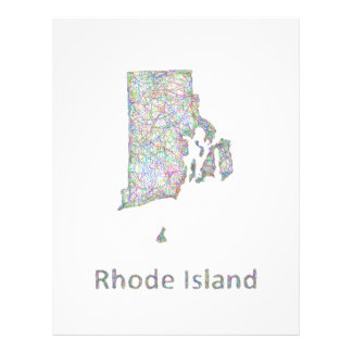 Rhode Island map 21.5 Cm X 28 Cm Flyer