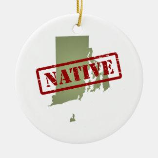 Rhode Island Native with Rhode Island Map Christmas Ornament