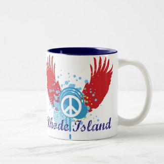 Rhode Island Peace Sign Two-Tone Coffee Mug