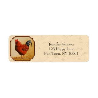Rhode Island Red Chicken Beige Return Address Label