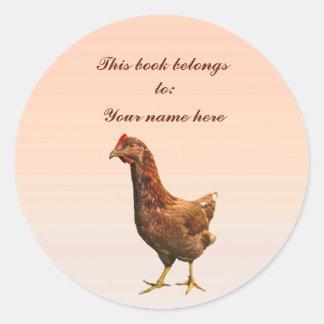 Rhode Island Red Hen Chicken Bookplate Classic Round Sticker