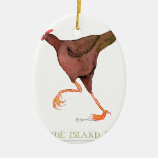RHODE ISLAND RED HEN, tony fernandes Ceramic Oval Decoration