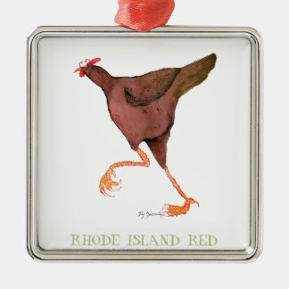 RHODE ISLAND RED HEN, tony fernandes Silver-Colored Square Decoration