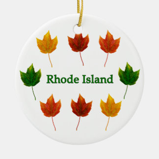 Rhode Island (red maple leaves) Christmas Ornament
