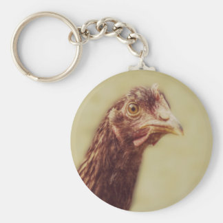 Rhode Island Red Pullet - Chicken Picture Basic Round Button Key Ring