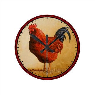 Rhode Island Red Rooster Chicken Round Clock
