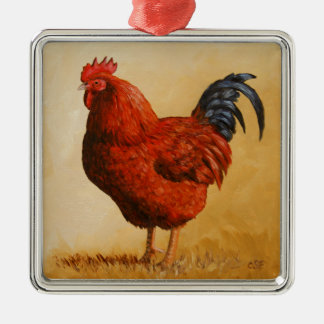 Rhode Island Red Rooster Chicken Silver-Colored Square Decoration