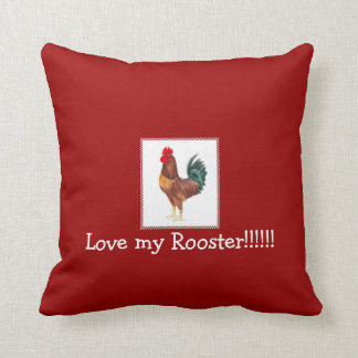rhode island red rooster pillow, chicken pillow