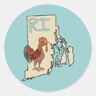 Rhode Island RI Map & Cartoon Red Chicken Art Classic Round Sticker