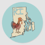 Rhode Island RI Map & Cartoon Red Chicken Art Round Sticker