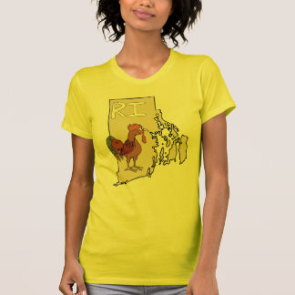 Rhode Island RI Map & Cartoon Red Chicken Art T-Shirt