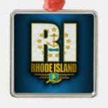 Rhode Island (RI) Silver-Colored Square Decoration