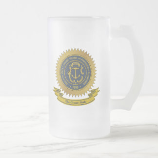 Rhode Island Seal Frosted Glass Mug